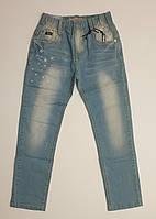 Голубые тонкие джинсы на резинке с потертостями для мальчика в молодежном стиле, р.122