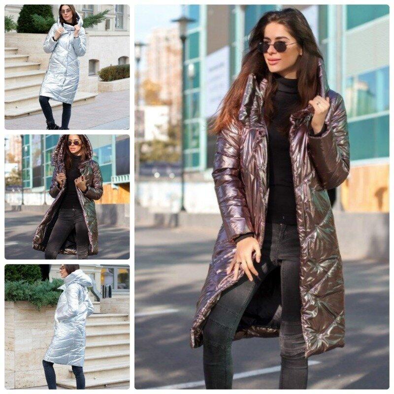 Эффектная женская куртка зимняя на кнопках с плащевки голограмма и воротником стойка 2 цвета С М