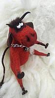 Валяный бык из шерсти Чертяка сухое валяние коллекционная игрушка, фото 1