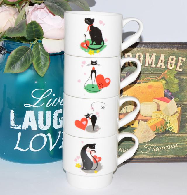 "Набор 4 чашки на стойке ""Favorite cats"" (340 мл.)"