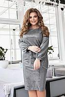 Женское нарядное платье БАТАЛ арт. 410 серебро