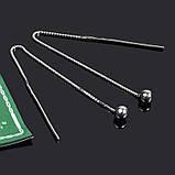 Серебряные серьги-протяжки шарик, фото 2
