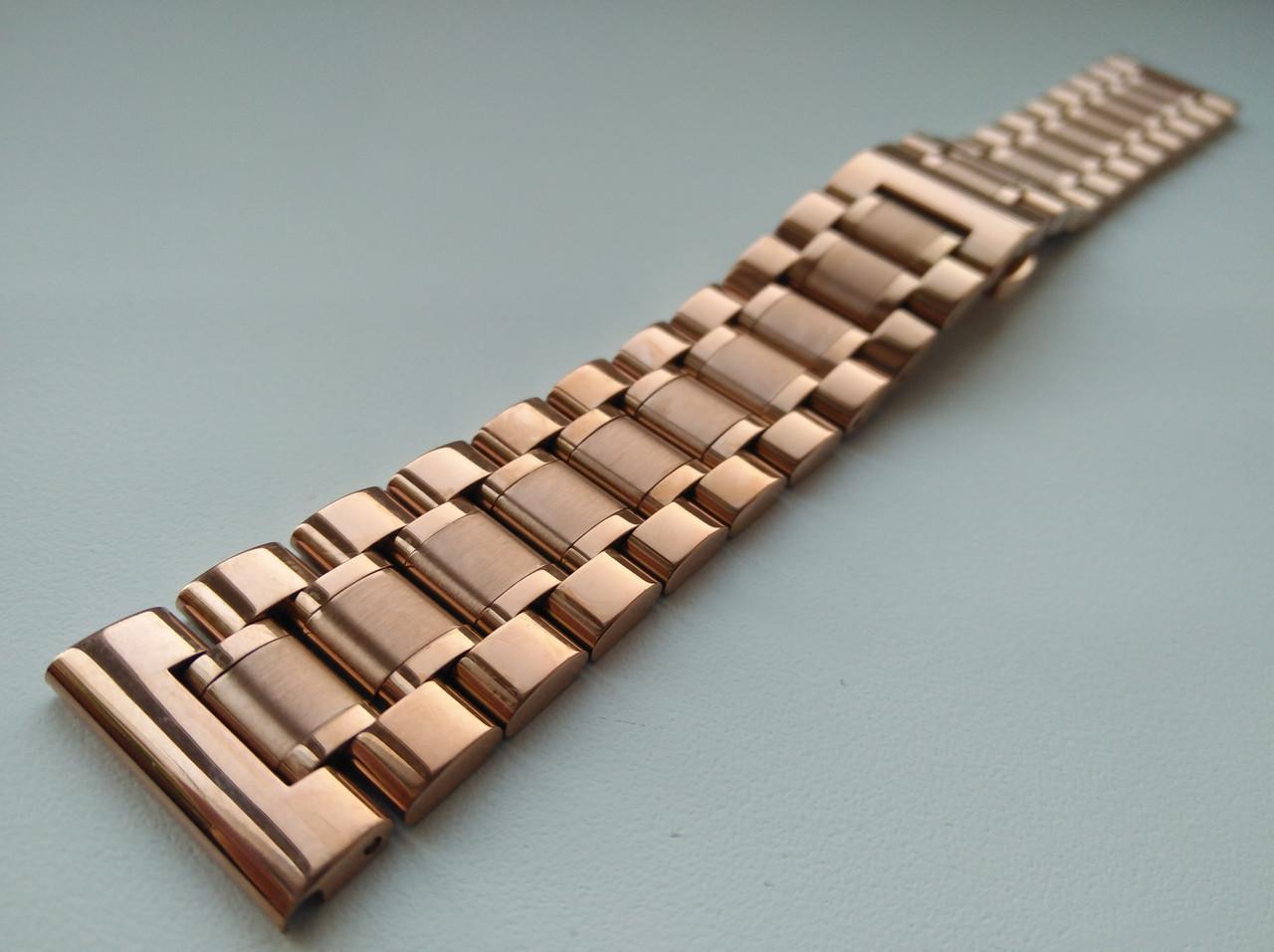 Браслет для часов из нержавеющей стали 316L, розовое золото, литой, мат/глянец, прямое/заокругленное ок. 22 мм