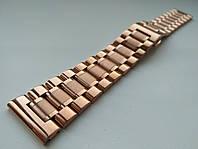 Браслет для часов из нержавеющей стали 316L, розовое золото, литой, мат/глянец, прямое/заокругленное ок. 22 мм, фото 1