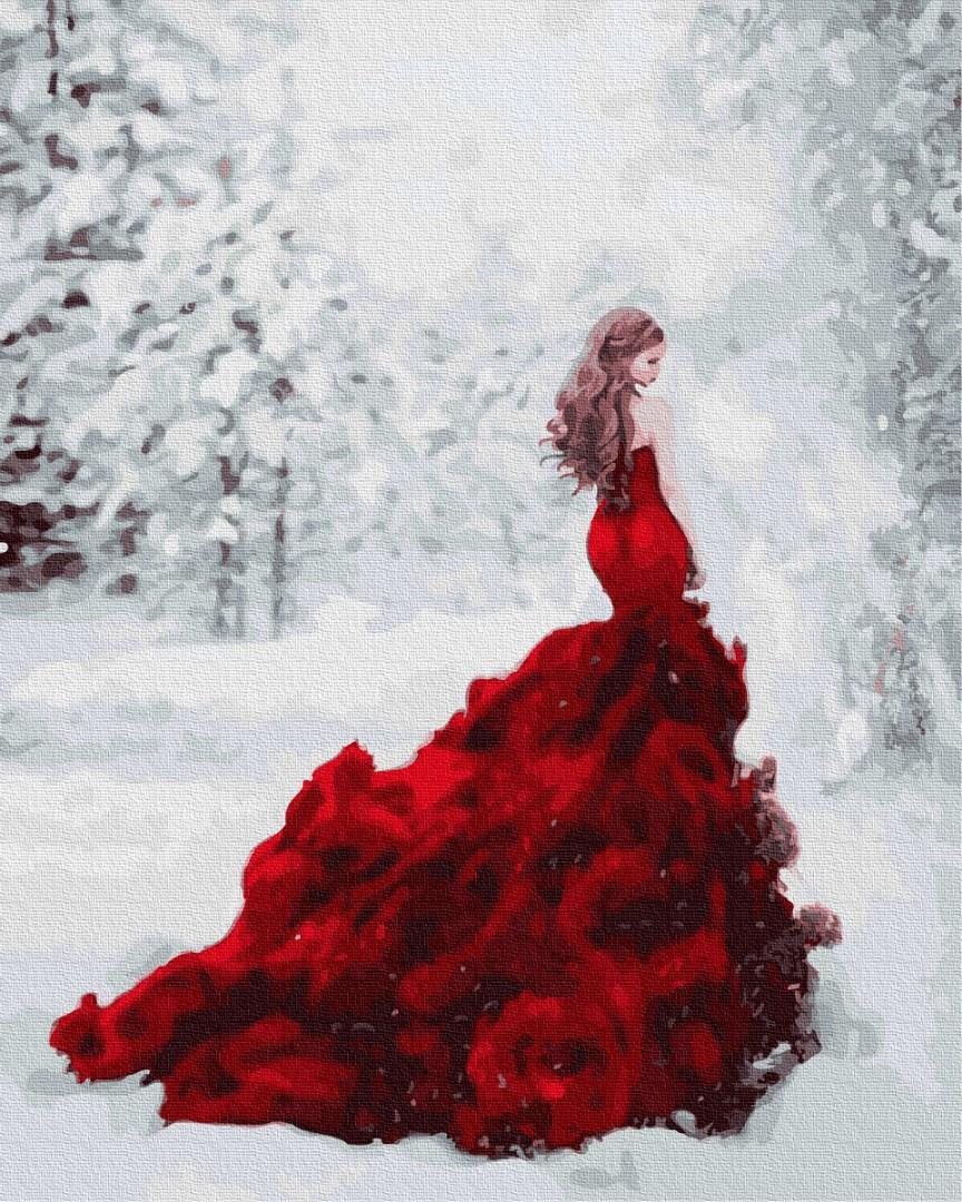 Картина по номерам - Девушка-роза в зимнем лесу Brushme 40*50 см. (GX31189)