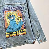 Джинсовая куртка с принтом на всю спину, джинсовка oversize, фото 4