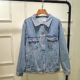 Джинсовая куртка с принтом на всю спину, джинсовка oversize, фото 5
