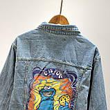 Джинсовая куртка с принтом на всю спину, джинсовка oversize, фото 6