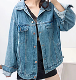 Джинсовая куртка с принтом на всю спину, джинсовка oversize, фото 10