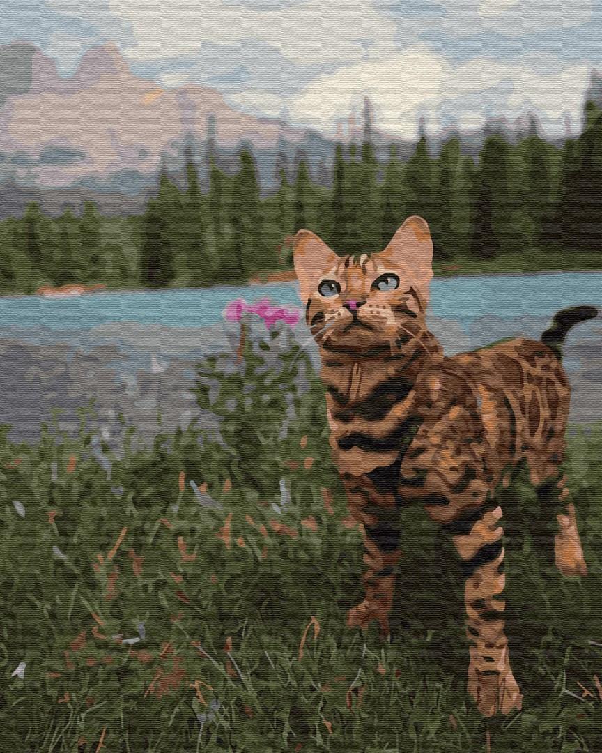 Картина по номерам - Бенгальская кошка у гор Brushme 40*50 см. (GX34172)