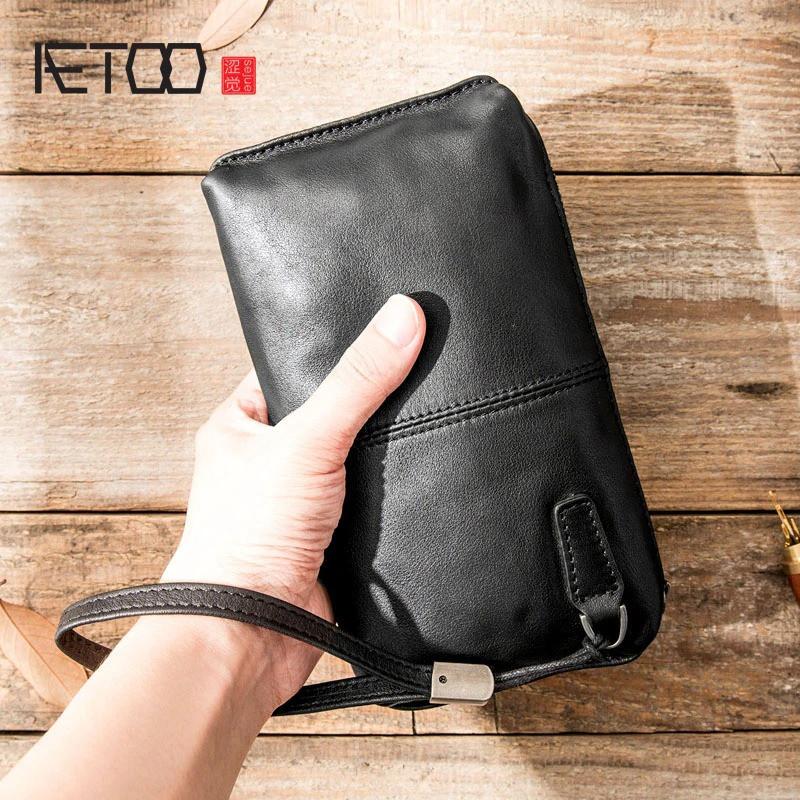 Чоловічий гаманець з натуральної шкіри. Чоловічий клатч. Шкіряний гаманець чоловічий портмоне зі шкіри Чорний