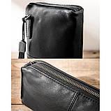 Чоловічий гаманець з натуральної шкіри. Чоловічий клатч. Шкіряний гаманець чоловічий портмоне зі шкіри Чорний, фото 7
