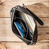 Чоловічий гаманець з натуральної шкіри. Чоловічий клатч. Шкіряний гаманець чоловічий портмоне зі шкіри Чорний, фото 6