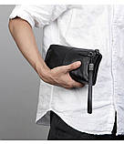 Чоловічий гаманець з натуральної шкіри. Чоловічий клатч. Шкіряний гаманець чоловічий портмоне зі шкіри Чорний, фото 3