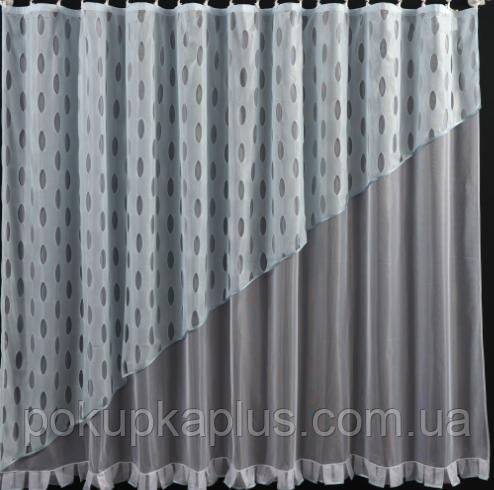 Тюль сетка готовая пошитая с тесьмой бело-голубая  185х300  код  СГ-86