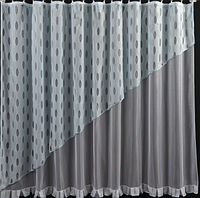 Тюль сетка готовая пошитая с тесьмой бело-голубая  185х300  код  СГ-86, фото 1