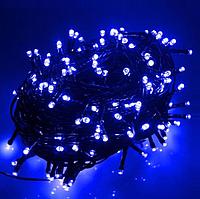 Светодиодная гирлянда Xmas Нить 200 LED СИНИЙ (черный провод,15 метров)