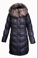Пуховик пальто женский с натуральным пухом с натуральным мехом лисы с капюшоном City Classic