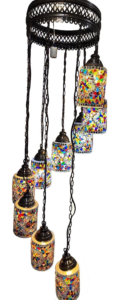 Люстра в східному стилі турецький світильник Sinan з мозаїки ручної роботи 9 плафонів