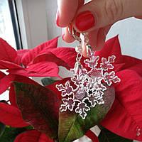 Серьги с снежинками из ювелирной смолы, фото 1