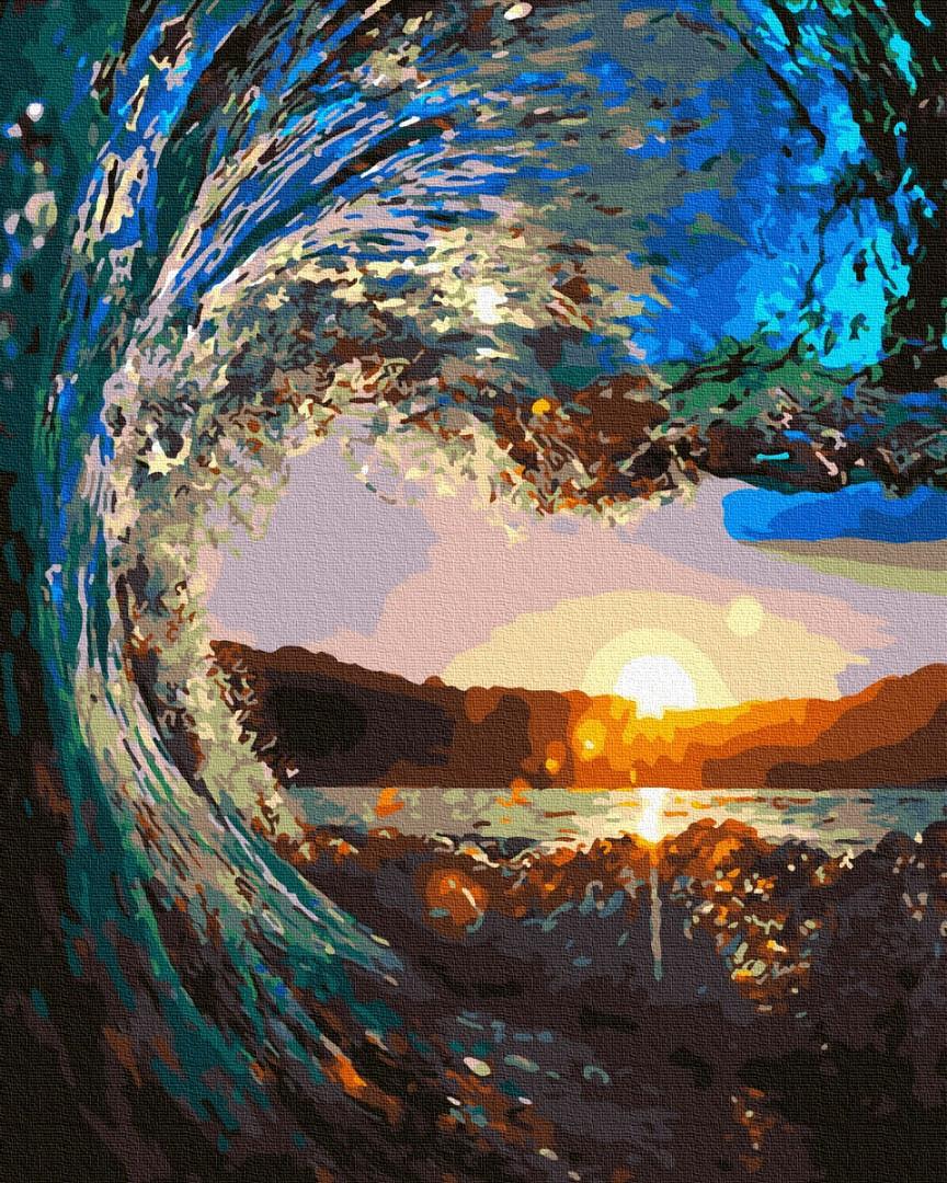 Картина по номерам - Закат сквозь волны Brushme 40*50 см. (GX31439)