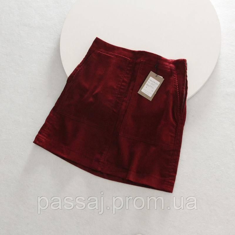 Стильная вельветовая юбка вишневого насыщенного цвета kobe lettuce