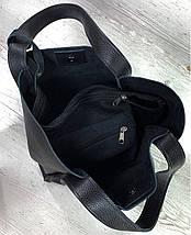 151-3 Натуральная кожа Сумка женская черная Сумка шоппер черная Сумка шоппер кожаная Сумка мягкая натуральная, фото 2
