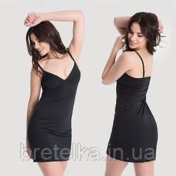 Комбинация под платье черная бесшовная Julimex гладкая комбинация под одежду корректирующее белье