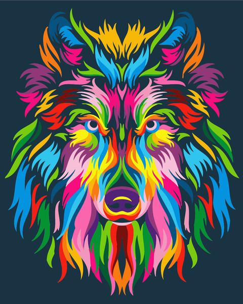 Картина по номерам - Радужный волк Brushme 40*50 см. (GX23828)