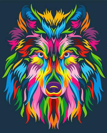 Картина по номерам - Радужный волк Brushme 40*50 см. (GX23828), фото 2