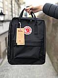 Модный рюкзак сумка канкен Fjallraven Kanken classic 16 черный женский, для девочки подростка, фото 2