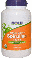 Спирулина органическая, Now Foods, Spirulina, 500 mg, 500 Tabs