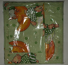 Комплект постельный детский 3 предмета,простынь на резинке , цвета арт 292 . зеленый резинка