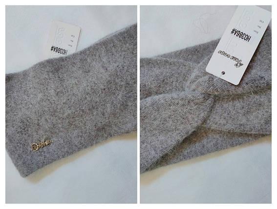 Повязка на голову из  ангоры FAN CAP 386 темносерый, фото 2