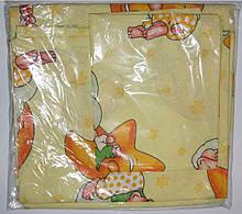 Комплект постельный детский 3 предмета,простынь на резинке , цвета арт 292 . желтый резинка