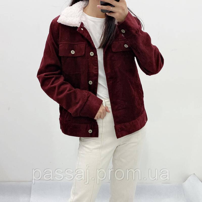 Вишневая вельветовая куртка arizona jean co