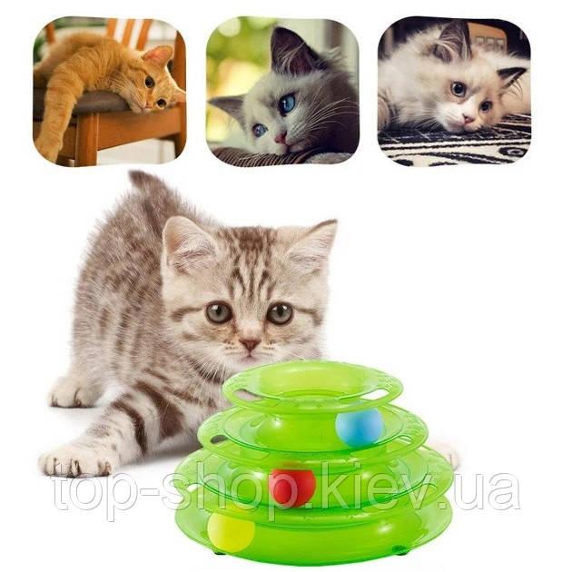Игрушка для кота с разноцветными шариками три уровня Cat Roller
