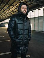 Куртка зимняя пуховик парка длинная качественная теплая черная мужская без логотипа