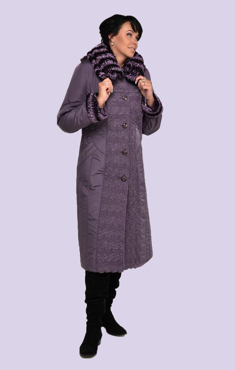 Зимнее пальто пуховик женское больших размеров, Верх пальто стежка, отделка искусственный каракуль, фото 1