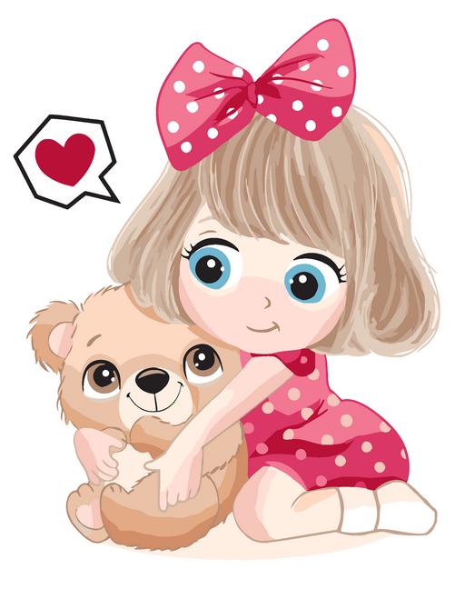 """Картина по номерам """"Девочка с мишкой"""" для детей в коробке, 30*40 см"""