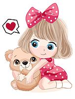 """Картина по номерам """"Девочка с мишкой"""" для детей в коробке, 30*40 см, фото 1"""