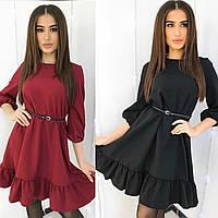 Женское осеннее платье с рукавом фонарик и рюшей. Стильное платье от производителя 42 44 46 48 50 52 модное