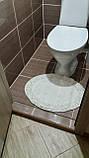 Набор мягких овальных ковриков для ванны из хлопка турецкие белые хлопковая основа, фото 9
