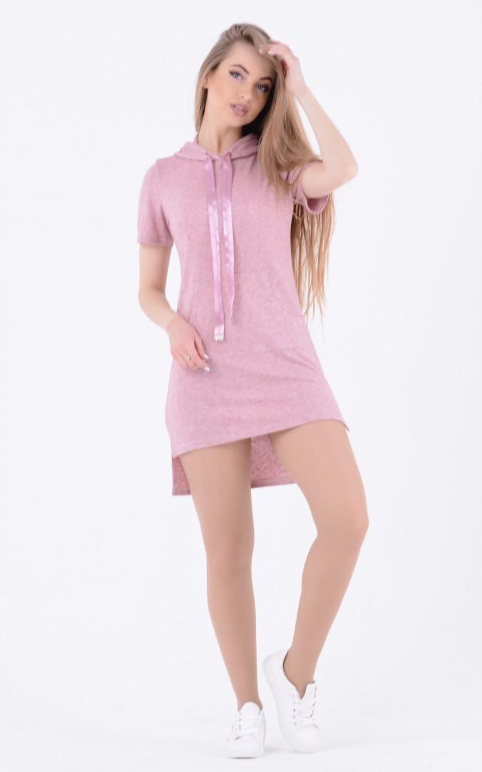 Асимметричное платье с капюшоном