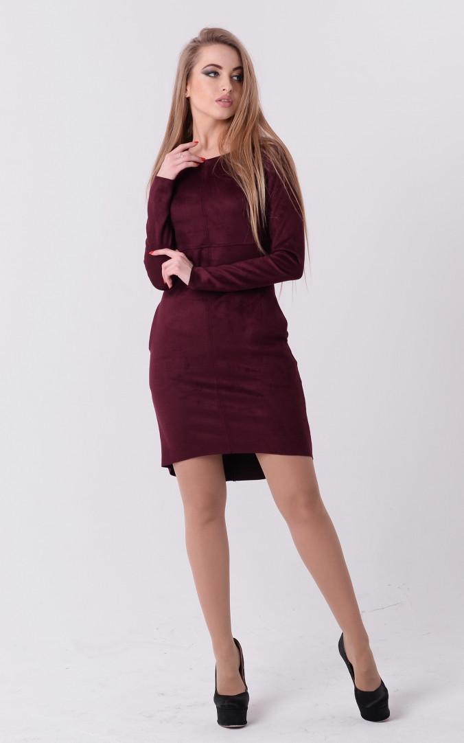 Стильное платье замш (бордовое)