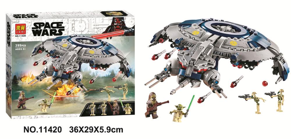 Конструктор 11420 Space Wars «Боевой корабль дроидов» Звездные войны, 399 деталей.