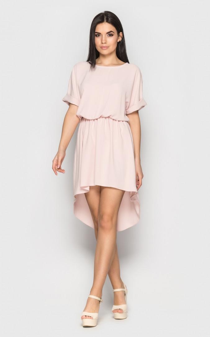 Асимметричное летнее платье (пудровое)