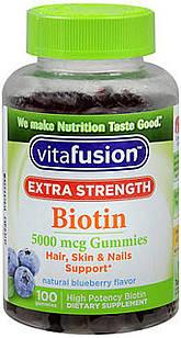 Vitafusion Биотин 5000 мкг в 2-х вкусных жевательных мармеладках , вкус черники 100 шт