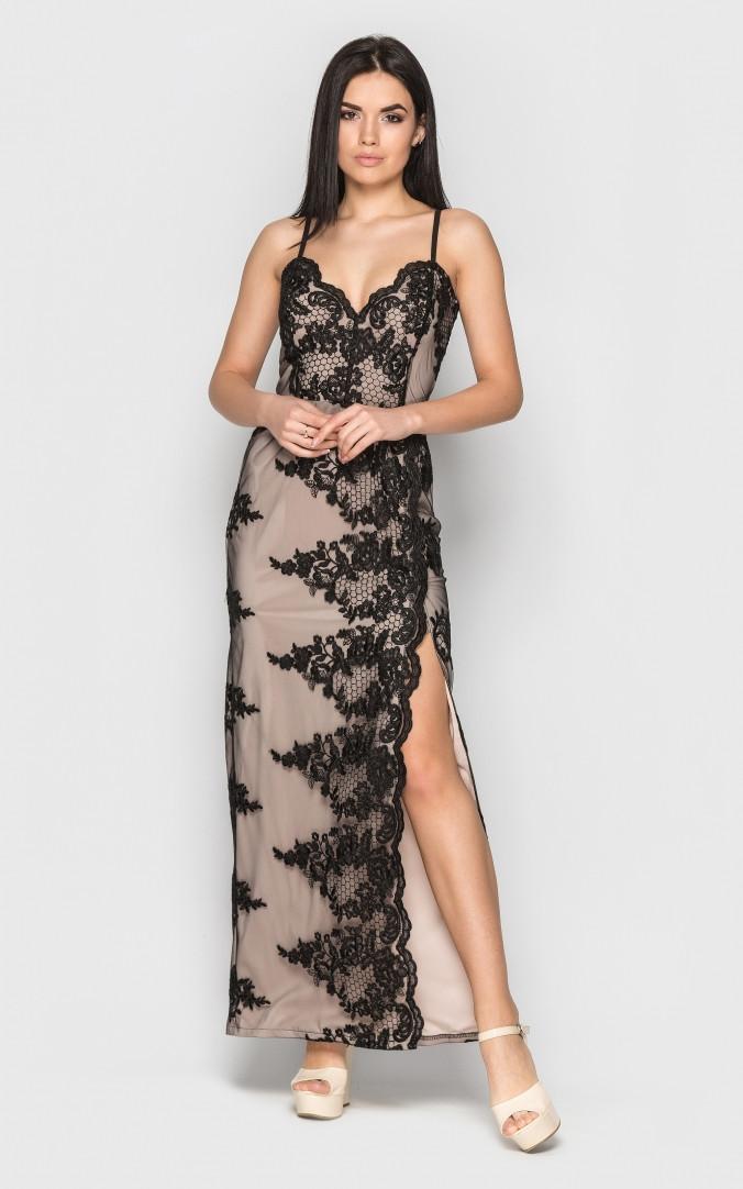 Облегающее длинное платье (черное)