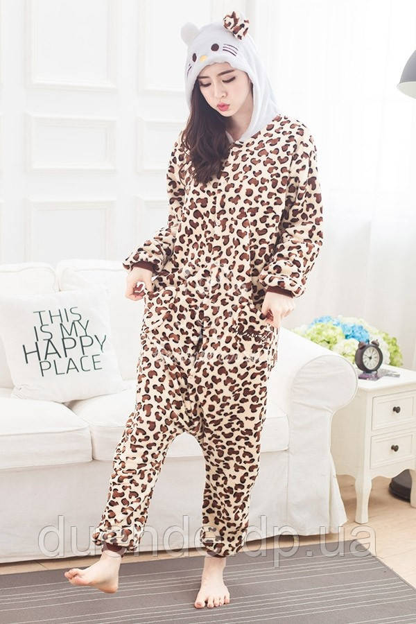 Кигуруми пижама Китти леопардовая, кигуруми Китти леопардовая для взрослых / Kig - 0029